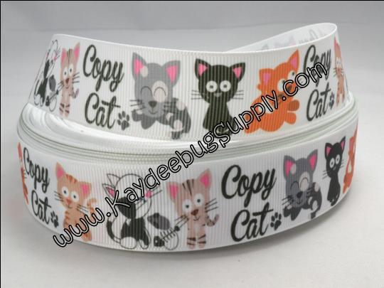 Copy Cat - WHITE - 1 inch-copy, cat, pet, pets, cats, adopt, animal, animals, ribbon