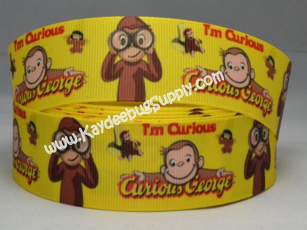 Curious George Monkey - YELLOW - 1 inch-monkey, rockstar, rock, star, guitar, girly, purple, ribbon, animal, monkeys, animals, polka, dot, dots, curious, george, yellow, ribbon,