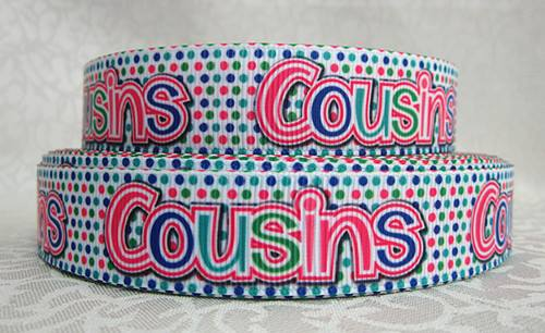 Cousins - Pink Green Blue Polka Dots - 7/8 inch-cousins, family, twins, baby, best, bestie, besties, friend, friend, pink, green, polka, dot, dots, ribbon,