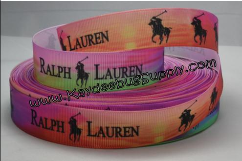Designer - Polo Horse - Purple Green Pink - 7/8 inch-RL, ralph, lauren, polo, polos, horse, horses, designer, preppy, nautical, prep, equestrian, water, pink, green, rainbow, multicolor, multi, colored, color, pretty, girl, white, yellow, green, red, blue, orange, bright, fun
