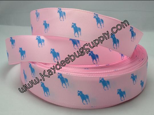 Designer - Polo Horse - Light Blue on Light Pink - 7/8 inch-RL, ralph, lauren, polo, polos, horse, horses, designer, preppy, nautical, prep, equestrian, water