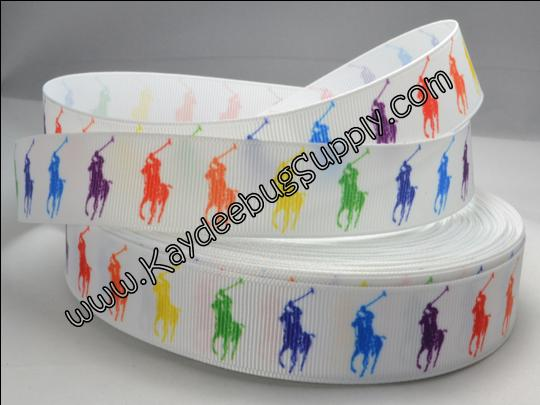 Designer - Polo Horse - Rainbow Multicolored - WHITE - 7/8 inch-RL, ralph, lauren, polo, polos, horse, horses, designer, preppy, nautical, prep, equestrian, water, pink, green, rainbow, multicolor, multi, colored, color, pretty, girl, white, yellow, green, red, blue, orange, bright, fun