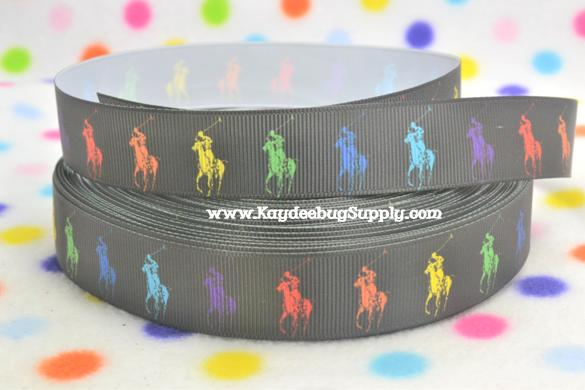 Designer - Polo Horse - Rainbow Multicolored - Black - 7/8 inch-RL, ralph, lauren, polo, polos, horse, horses, designer, preppy, nautical, prep, equestrian, water, pink, green, rainbow, multicolor, multi, colored, color, pretty, girl, white, yellow, green, red, blue, orange, bright, fun