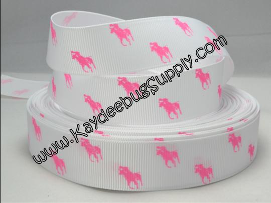 Designer - Polo Horse - Bright Pink on White - 7/8 inch-RL, ralph, lauren, polo, polos, horse, horses, designer, preppy, nautical, prep, equestrian, water, neon, hot, pink, bright, flourescent