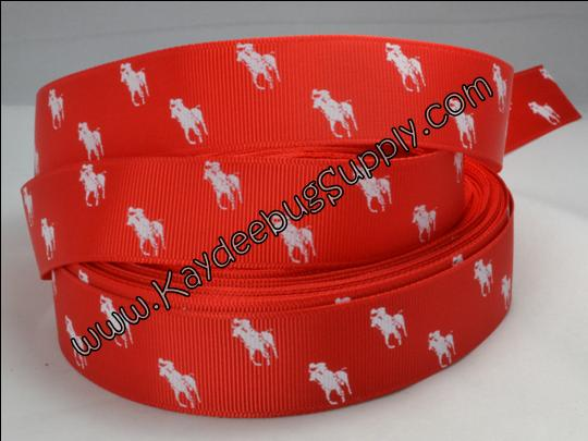 Designer - Polo Horse - White on Red - 7/8 inch-RL, ralph, lauren, polo, polos, horse, horses, designer, preppy, nautical, prep, equestrian, water, red, white,