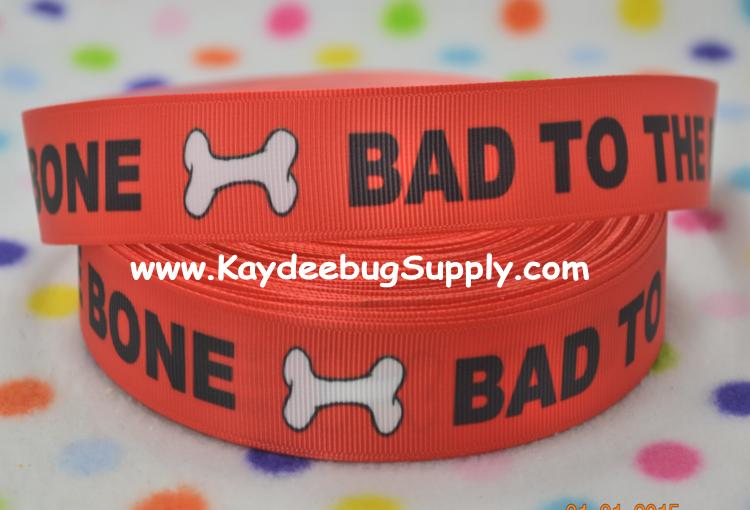 Bad to the Bone - RED -  7/8 inch-bad to the bone, dog, pet, collar, leash,