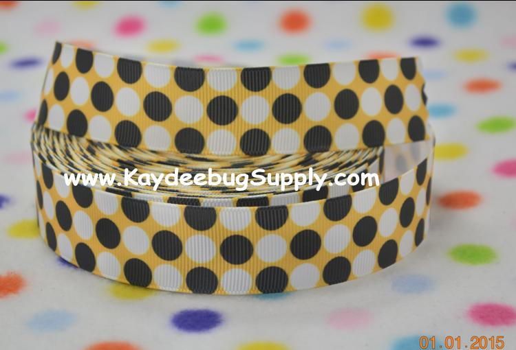 DOTS - Black & White on Yellow - 1 inch-dot, dots, black, white, steelers, grambling, polka, yellow, pittsburgh