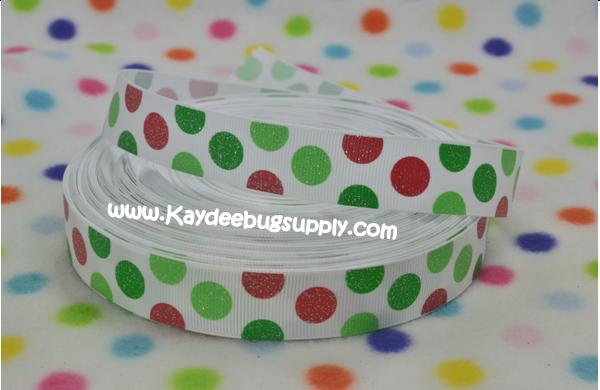 DOTS - Red Green on White - GLITTER - 7/8 inch-xmas, xhristmas, christmas, holiday, holidays, santa, hat, hats, snow, flake, flakes, snowflakes, chevron, glitter, dot, dots, stripe, stripes,