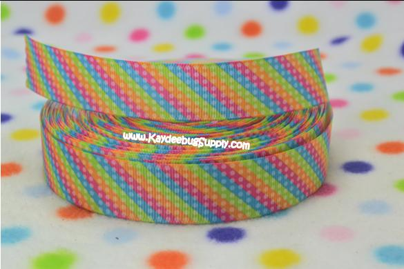 Neon Multicolored Diagonal Stripes & Dots - Green, Blue, Pink, Orange  7/8 inch-neon, neons, bright, florescent, stripe, stripes, dot, dots, polka, flourescent, multi, color, colored, multicolor, multicolored, diagonal, strip, colors, rain, bow, rainbows, rainbow