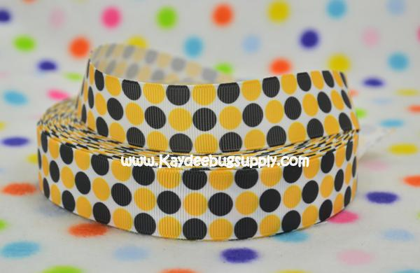 DOTS - Yellow & Black on White - 1 inch-dot, dots, black, white, steelers, grambling, polka, yellow, pittsburgh