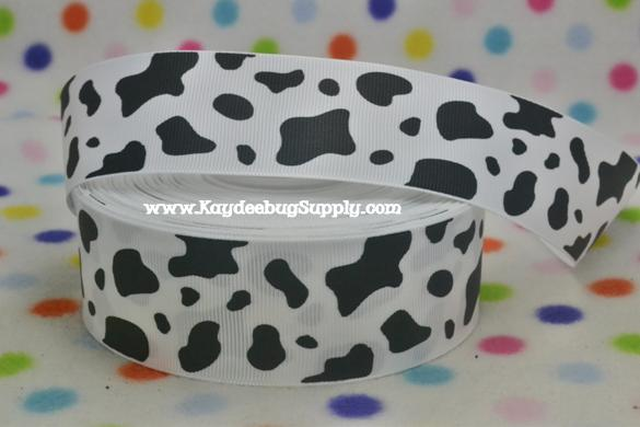 Animal Print - Cow Print - Dalmation Spots - Black on White - 1.5 inch-animal, print, zebra, stripe, ribbon, team, sport, teams, sports, cheer, black, white, dance, 38mm, 38 mm, dalmatian, cow, print, firemen, dog,