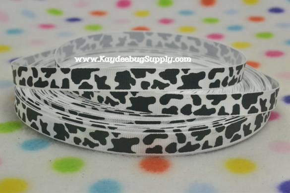 Animal Print - Cow Print - Dalmation Spots - Black on White - 3/8 inch-animal, print, zebra, stripe, ribbon, team, sport, teams, sports, cheer, black, white, dance, 38mm, 38 mm, dalmatian, cow, print, firemen, dog