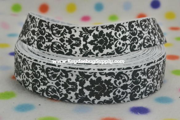 Damask - Black on White - 7/8 inch-unique, damask, black, white, wedding, invitation, supply, scroll, flowers,
