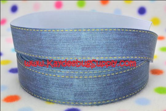 Denim Blue Jeans Yellow Stitch - 1 inch-blue, jeans, jean, denim, unique, yellow, stitch