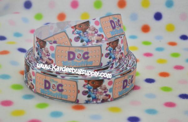 Doc McStuffins - Bandaid & Polka Dots - 1 inch-doc, mcstuffin, mcstuffins, mc stuffins, bag of boos, boos, bag, clinic, disney, ethnic, black, doll, lambie, doctor, bandaid, dot, dots, polka, turquoise, purple, ribbon, black, african, american, doll, ethnic, brown,