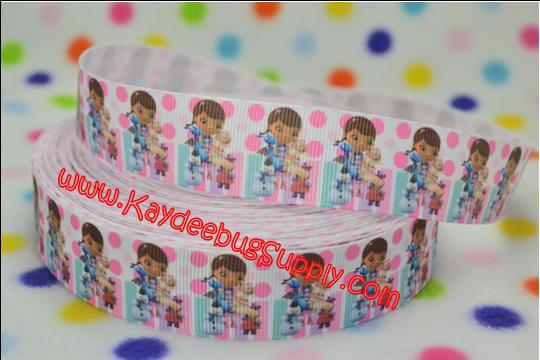 Doc McStuffins & Friends - Pink Dots - 1 inch-doc, mcstuffin, mcstuffins, mc stuffins, bag of boos, boos, bag, clinic, disney, ethnic, black, doll, lambie, doctor, bandaid, dot, dots, polka, turquoise, purple, ribbon, black, african, american, doll, ethnic, brown, hallie, stuffy, pickles, moo-moo, moo,