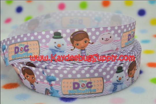 Doc McStuffins - Purple Dots & Chevron - 1 inch-doc, mcstuffin, mcstuffins, mc stuffins, bag of boos, boos, bag, clinic, disney, ethnic, black, doll, lambie, doctor, bandaid, dot, dots, polka, turquoise, purple, ribbon, black, african, american, doll, ethnic, brown, hallie, stuffy, pickles, moo-moo, moo,
