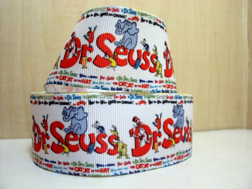 Dr Suess - 1.5 inch-dr, suess, suessical, cat, hat, green, eggs, ham, thing, one, two, thing 1, thing 2, ribbon,