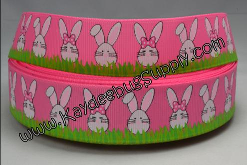 Easter Bunnies Green Grass - PINK- 7/8 inch-easter, holiday, pink, green, grass, bunny, bunnies, rabbit, rabbits,