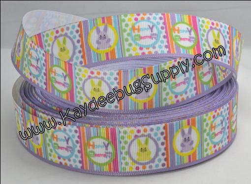 Easter - Hoppy Easter - Purple BLOCK - 1 inch-holiday, happy, hoppy, easter, bunny. stripes, dots, multicolor, rainbow,