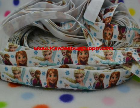 ELASTIC - Anna & Elsa Snowflakes - WHITE - 5/8 inch-winter, frozen, movie, Anna, Elsa, Snow Queen, movie, disney,  snowflake, snowflakes, FOE, fold, over, elastic, hair, ties, headbands, emi, jay, material, head, band, headband, bands,