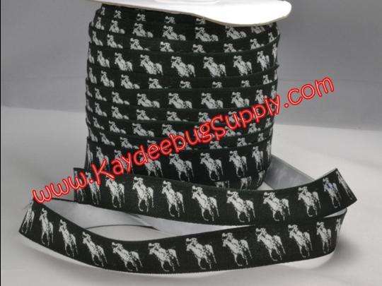 ELASTIC - Designer - Polo White on BLACK - 5/8 inch-RL, ralph, lauren, polo, polos, horse, horses, designer, preppy, nautical, prep, equestrian, water, FOE, fold, over, elastic, orange, blue, hair, ties, headbands, emi, jay, material,