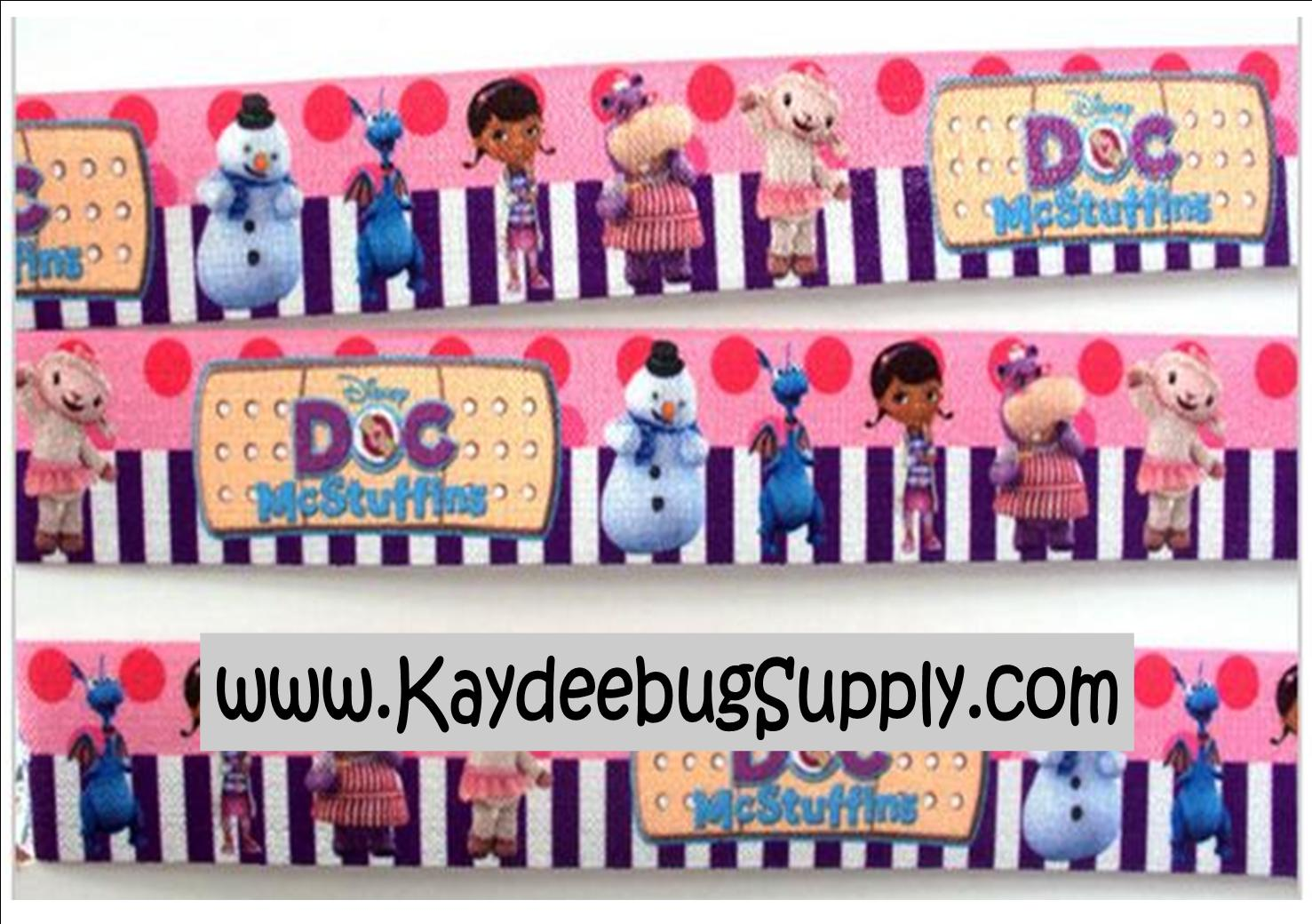 ELASTIC - Doc McStuffins - 1 inch-doc, mcstuffin, mcstuffins, mc stuffins, bag of boos, boos, bag, clinic, disney, ethnic, black, doll, lambie, doctor, Flatback, Resin, Cabohcon, Bow, Centers, Appliques, Charms, Pendant , bandaid, dot, dots, polka, turquoise, purple, ribbon, black, african, american, doll, ethnic, brown , ribbon, elastic, fold, over, FOE, foldover
