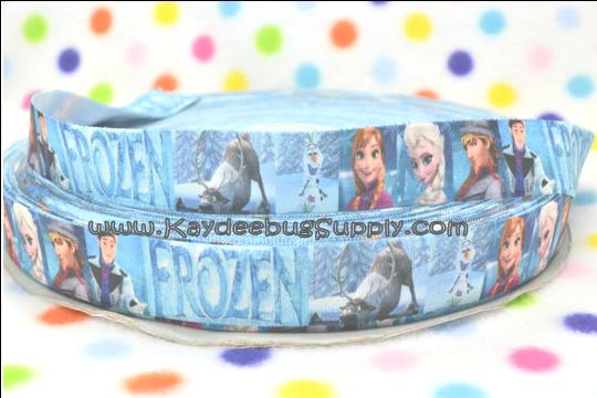 ELASTIC - Frozen Movie Characters - 1 inch-snow, winter, ribbon, , movie, Kristoff, Duke of Weselton, Anna, Olaf, Elsa, Snow Queen, disney, movie, ribbon, elastic, fold, over, FOE, foldover