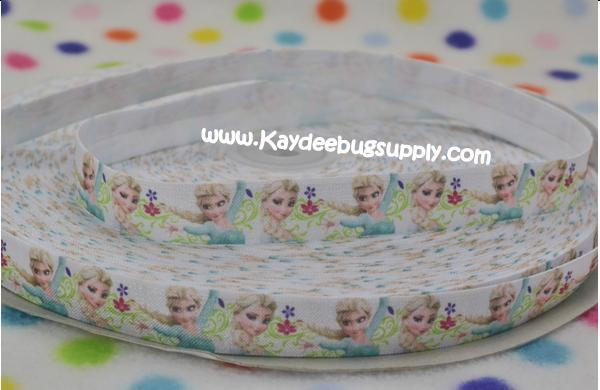 Frozen Elsa Onliy Flying - FOE - 5/8 inch-FOE, fold, over, elastic, hair, ties, headbands, emi, jay, material, head, band, headband, bands, frozen, movie, elsa, snow, queen,