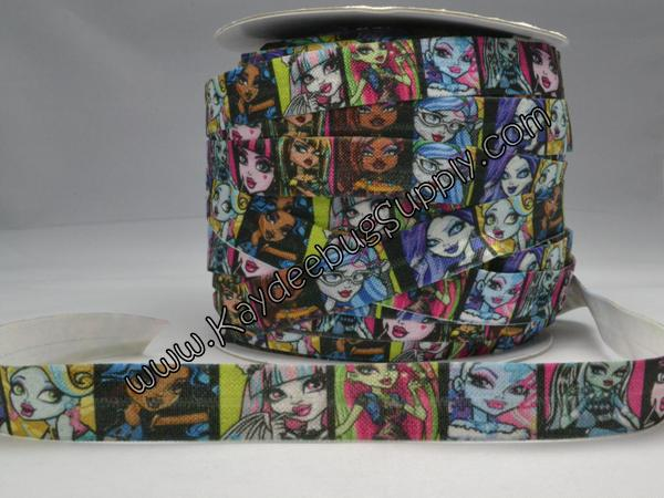 Elastic - Monster High - 5/8 inch-monster, high, scaris, school, zombie, skull, skulls, clawdeen, wolf, clawdeenwolf, claudia, elastic, fold, over, FOE, foldover, trim, hairties, hair, ties, hairtie
