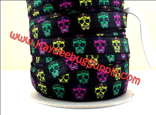 ELASTIC - Sugar Skulls - Pink Green Yellow on Black - 5/8 inch-day of the dead, sugar, skull, skulls, punk, goth, rock, calavera, dia de los muertos, mexican, muertos, calaveras, tattoo, FOE, fold, over, elastic, orange, blue, hair, ties, headbands, emi, jay, material,