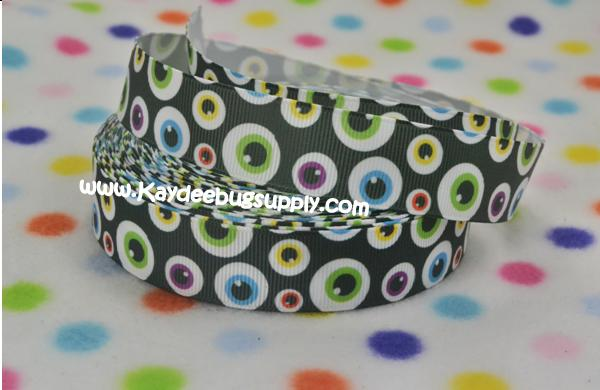Multicolor Eyes - Eyeballs - 7/8 inch-disney, halloween, boy, boys, skull, eye, ball, eyes, balls, one, eyed, boo, sully, monster, ribbon, grosgrain, printed, monsters, university, inc, inc., disney, spooky, boy, boys, little, alien, aliens, Halloween, Disney