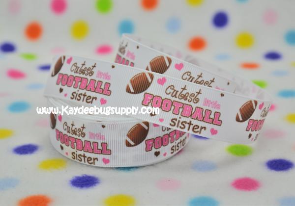 Cutest Little Football Sister - 1 inch-team, teams, sport, sports, football, foot, cheer, cutest, lil, cute, little, sister, pink, footballs, brown,