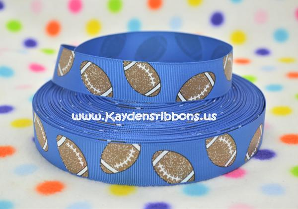 Footballs - BLUE Background - Glitter - 7/8 inch-university, sport, sports, team, teams, foot, ball, basket, basketball, football, Big, Ten, Conference, NCAA, Division, one,  glitter, foot, ball, balls, football, footballs, kentucky, wildcats, dallas, cowboys, chargers, seahawks, detroit, lions, chicago, bears, houston, texans, florida, gators, pitt, pittsburgh, memphis, grizzlies, tigers,