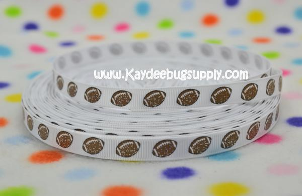 Footballs - White Background - GLITTER - 3/8 inch-NFL, team, teams, sports, foot, ball, football, spirit, football, field, pitch, green, college, collegiate, university, fan, brown, leather stitching, white, green, yard, line, lines, numbers, hash, mark, marks, scrimmage, sport, sports, Glitter, glitter, footballs