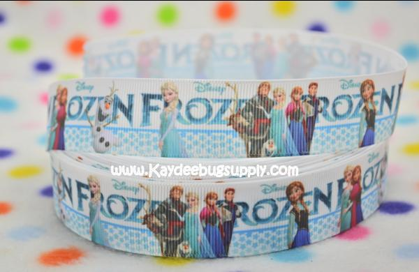 Frozen Characters - All Characters Blue Dots  - 1 inch-printed, grosgrain, ribbon, 25mm,  snow, , ribbon, , movie, Kristoff, Duke of Weselton, Anna, Olaf, Elsa, Snow Queen, movie, frozen, let it go, aqua