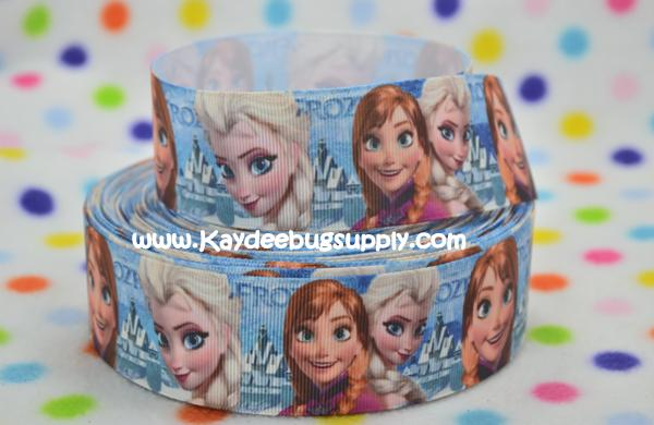 Frozen - Anna and Elsa Snow Queen - Blue - 1.5 inch-snow, winter, ribbon, movie, Anna, Elsa, Snow Queen, disney, movie, ribbon, sisters