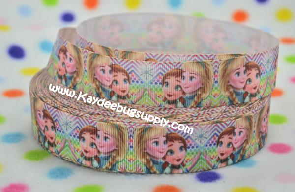 Frozen - Anna, Elsa - Multicolor Chevron Dots - 1 inch-printed, grosgrain, ribbon, 25mm,  snow, winter, ribbon, christmas, movie, Kristoff, Duke of Weselton, Anna, Olaf, Elsa, Snow Queen, movie, frozen, let it go, aqua, sven, chevron, rainbow, multicolor, dot, dots,