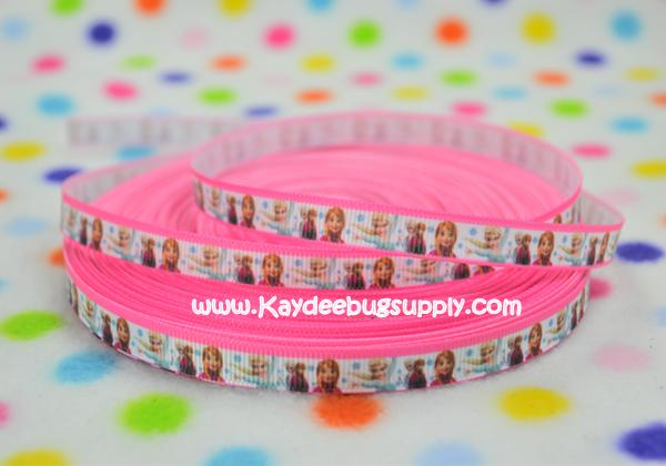 Frozen Anna Elsa - Pink Border - 3/8 inch-printed, grosgrain, ribbon, 9mm,  snow, winter, ribbon,  movie,  Anna, Elsa, Snow Queen, movie, frozen, let it go, aqua