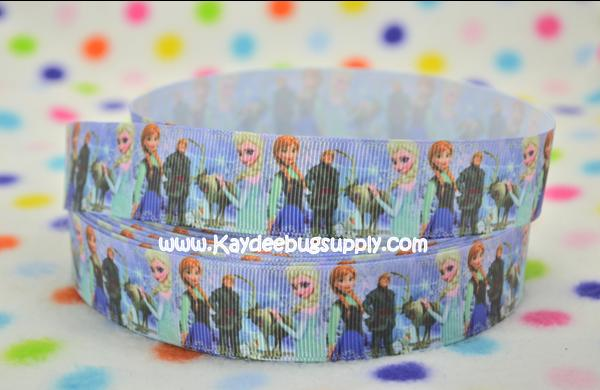 Frozen - Anna, Elsa, Sven, Kristoff - BLUE - 1 inch-printed, grosgrain, ribbon, 25mm,  snow, winter, ribbon, , movie, Kristoff, Duke of Weselton, Anna, Olaf, Elsa, Snow Queen, movie, frozen, let it go, aqua, sven