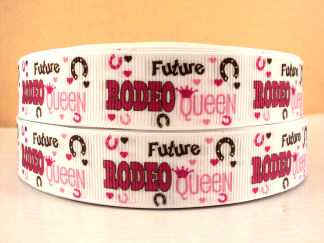Future Rodeo Queen - 7/8 inch-country, cowboys, cowboys, girl, girls, girly, pink, brown, future, rodeo, diva, queen, hunting, ribbon,