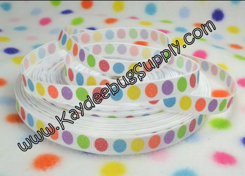 DOTS - Glitter Neon Rainbow Multicolor - WHITE - 3/8 inch-rainbow, multicolor, dots, dot, skittles, neon, glitter