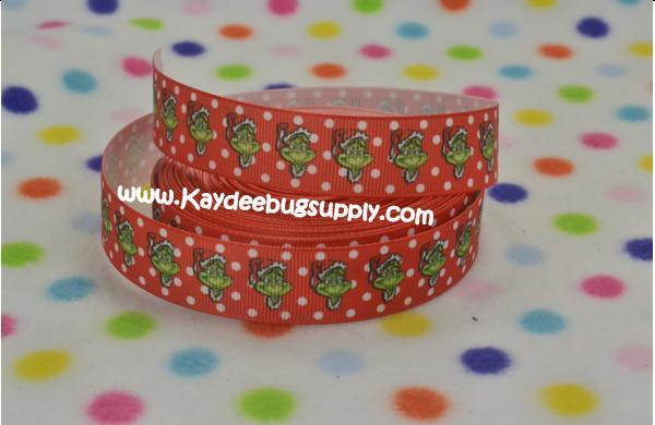 Grinch Santa Hat - Red Dots - 7/8 inch-christmas, xmas, holiday, santa, claus, st nick, nick, snow, winter, ribbon, grinch, mean, green, red, dots, hat, hats,