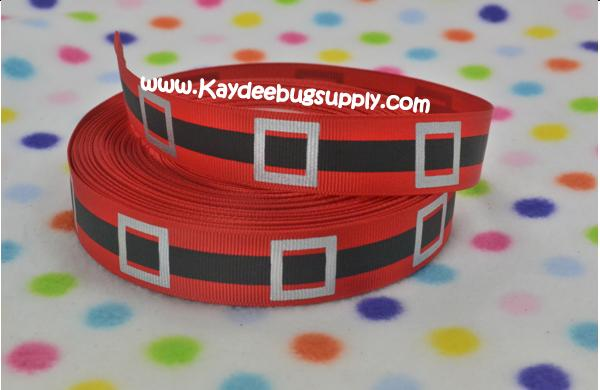 Santa Claus Belt - RED - 7/8 inch-christmas, xmas, holiday, santa, claus, st nick, nick, snow, winter, ribbon, stripe, stripes, red, belt