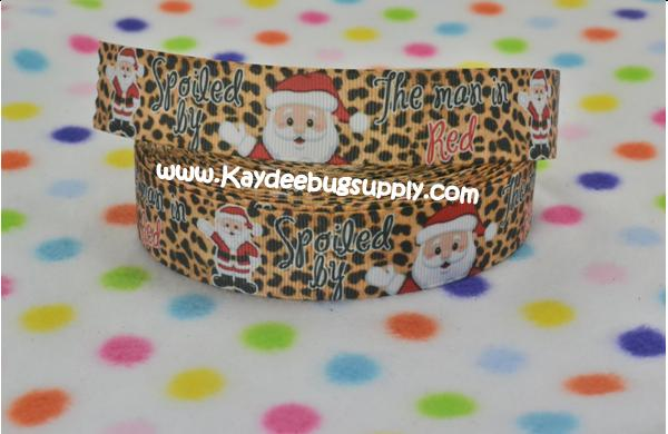 Spolied By the Man In Red - Santa Claus Leopard - 1 inch-christmas, xmas, holiday, santa, claus, st nick, nick, snow, winter, ribbon, stripe, stripes, red, green, leopard, spoiled, man, spoiled by the man in red