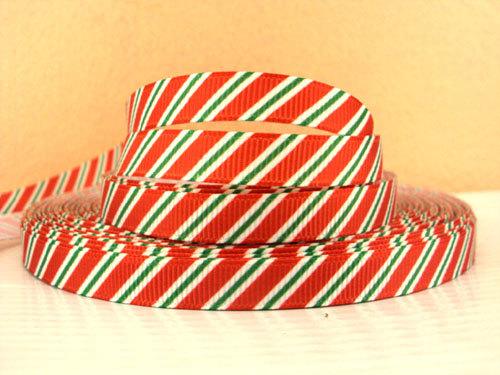 STRIPES Diagonal - Red Green on White - 3/8 inch-xmas, xhristmas, christmas, holiday, holidays, santa, hat, hats, snow, flake, flakes, snowflakes, chevron, glitter, dot, dots, stripe, stripes, candy, cane,