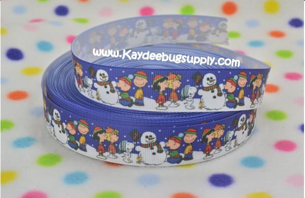 Charlie Brown Christmas - 7/8 inch-charlie, brown, christmas, xmas, holiday, santa, claus, st nick, nick, snow, winter, ribbon