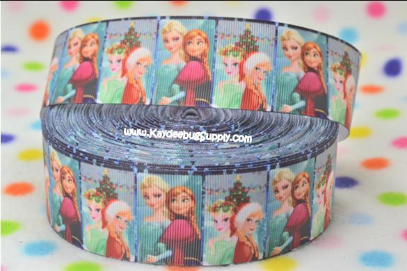 FROZEN - Anna & Elsa - Christmas Santa Hats - BLOCK - 1.5 inch-frozen, movie, anna, elsa, christmas