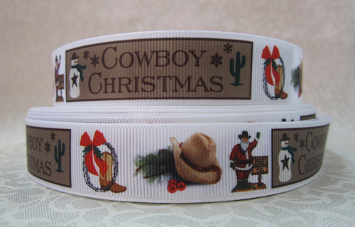 Cowboy Christmas - 7/8 inch-christmas, xmas, holiday, santa, claus, st nick, nick, snow, winter, ribbon, cowboy, country, christmas,