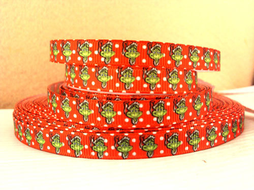 Grinch Santa Hat - Red Dots - 3/8 inch-christmas, xmas, holiday, santa, claus, st nick, nick, snow, winter, ribbon, grinch, mean, green, red, dots, hat, hats,